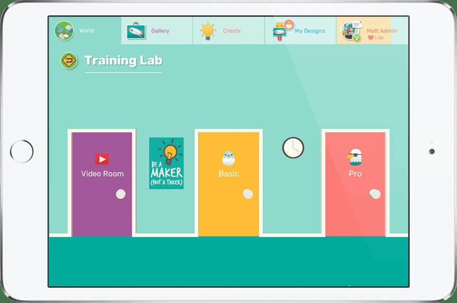 iPad showing Makers Empire 3D design app training lab tutorial area