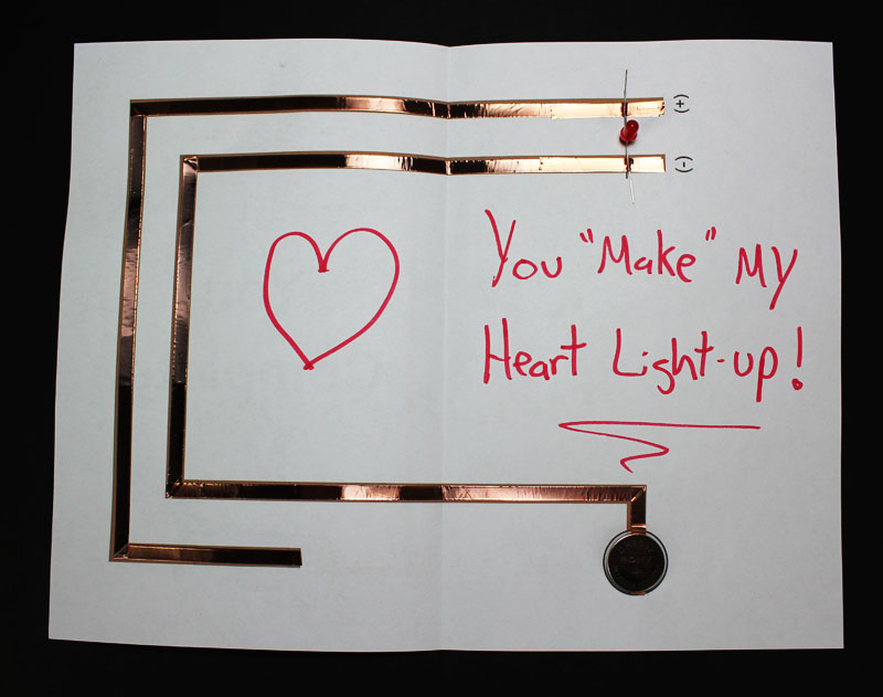 paper circuit project light up valentines day card