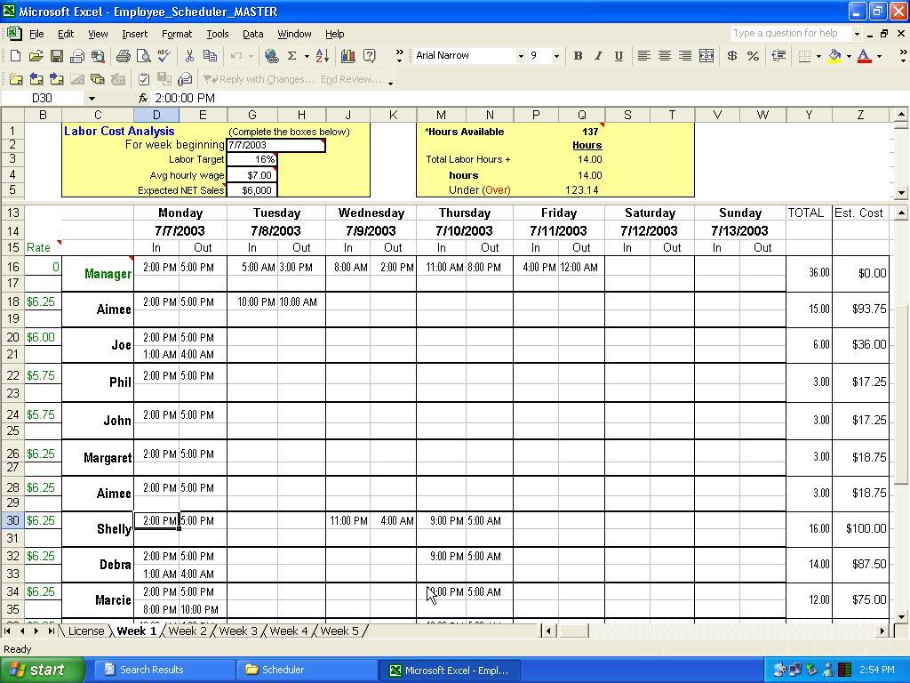 Excel Employee Scheduler