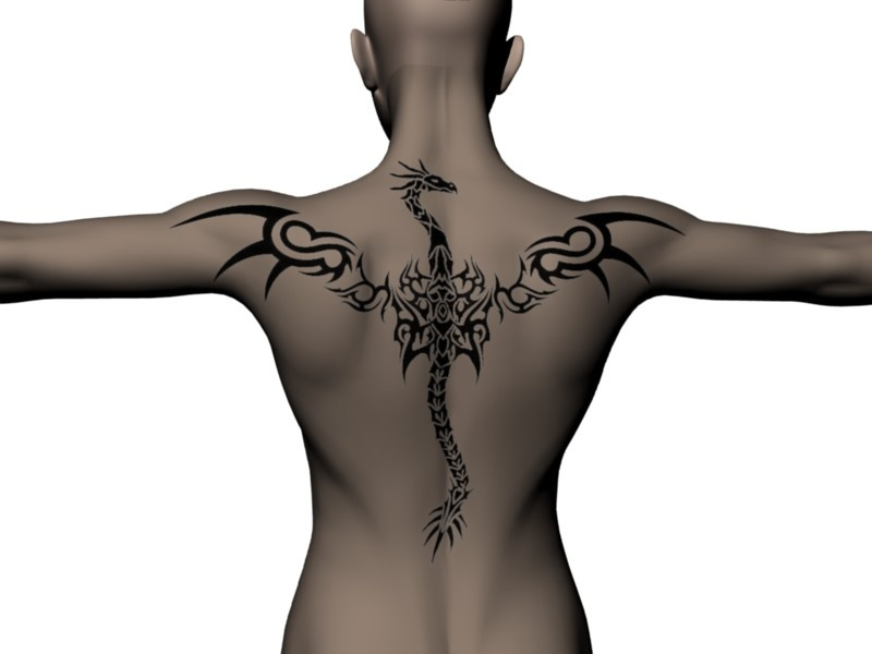 Dragon spine, wing shoulder. Awesome. Made with the Back Tattoo scene