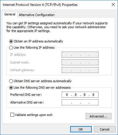 Windows Store funktioniert nicht Ändern Sie bevorzugte DNS