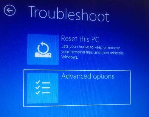 Advanced Option Safe Mode Windows 10pc