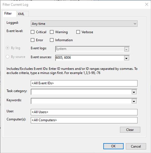 Siehe Verlauf des Herunterfahrens des PCs Ereignisanzeige-Filterprotokoll
