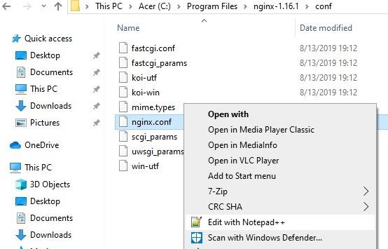 Bearbeiten Sie die Nginx-Konf-Datei mit Notepadplusplus