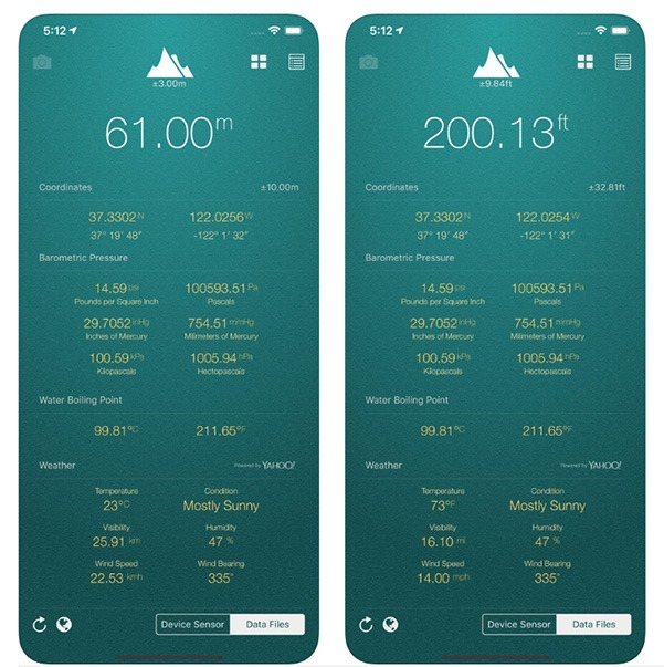 Höhen-Apps Meine Höhe