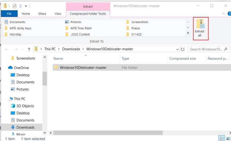Bloatware entfernen Windows Alle extrahieren