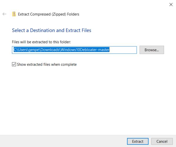 Entfernen Sie Bloatware-Windows-Extraktionsziel