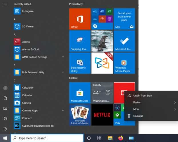 Bloatware Windows Deinstallation vom Start entfernen