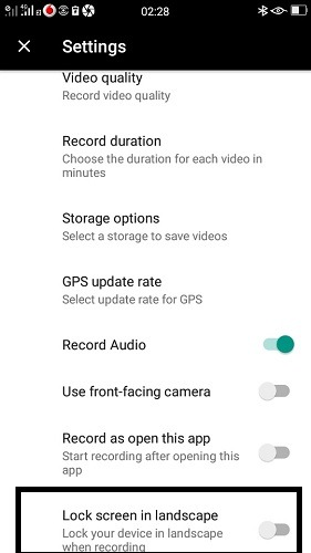 Dashboard Android Drive Recorder Settings 1