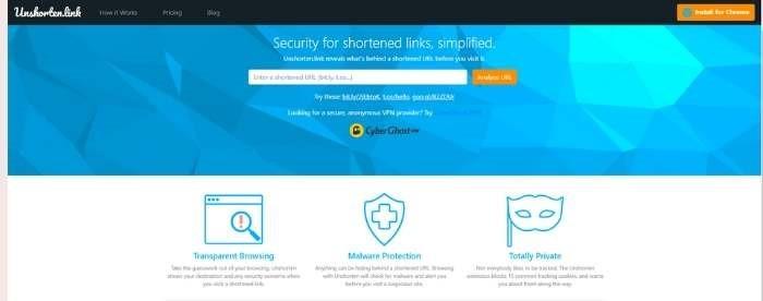 Chrome Security Extensions Unshorten.link