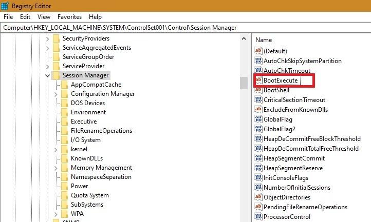 Scheduled Chkdsk Registry Session Manager