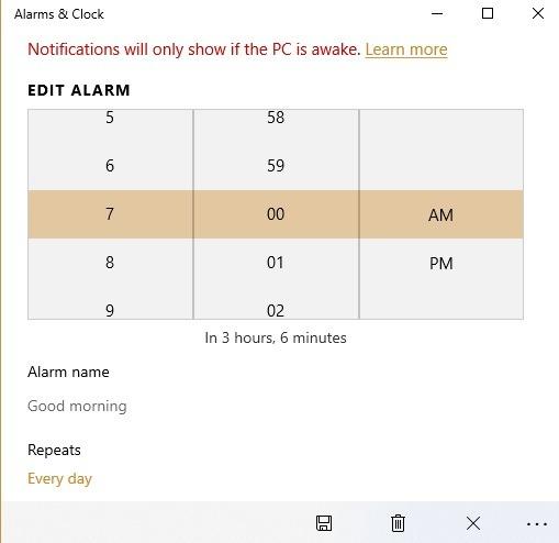 Windows10 Alarme Timer Alarme Bearbeiten
