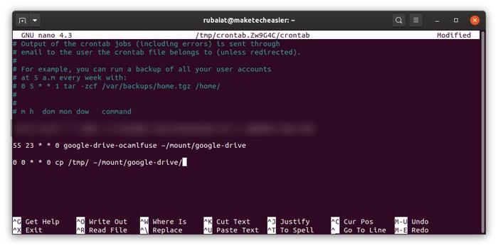 crontab-Einträge zum Speichern von Sicherungsdateien auf Google Drive