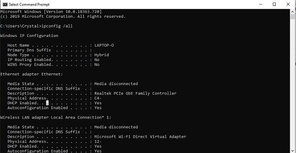 Anzeigen von Netzwerkadapterdetails in Windows 10 Command