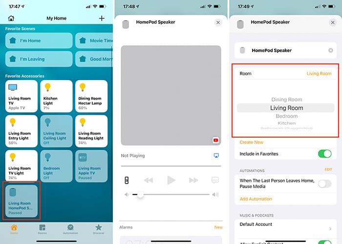 Einrichten von Heimkino-Audio Apple Tv Homepod Raumplatzierung Home App