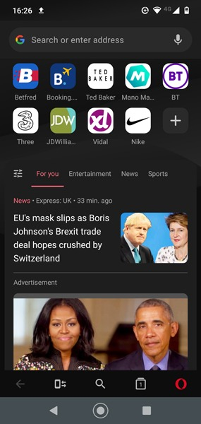 Beenden Sie Apps mit mobilen Daten Android Opera Mini