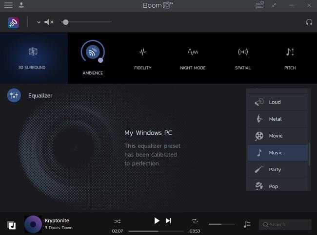 Boom 3d Desktop Review-Voreinstellungen