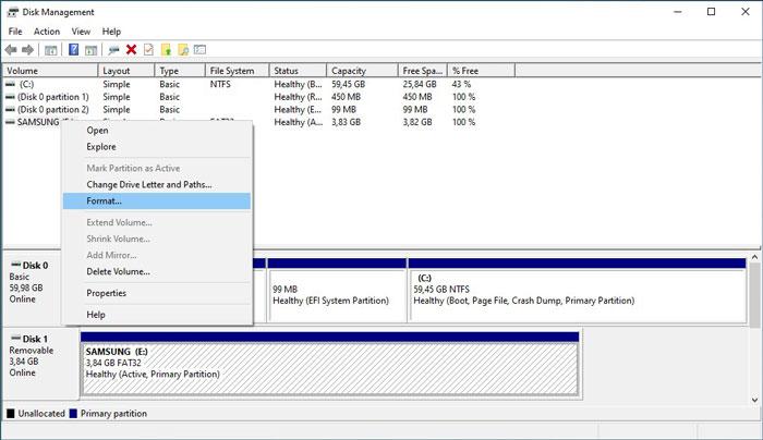 Formatieren Sie USB-Laufwerke im Win10 Diskman-Format