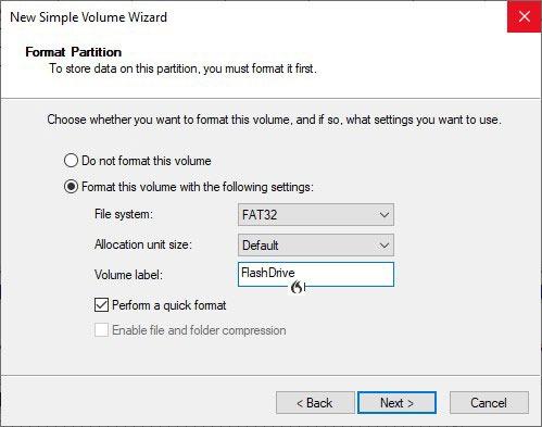 Formatieren von USB-Laufwerken in Win10 Diskman Simple Volume Wizard Details