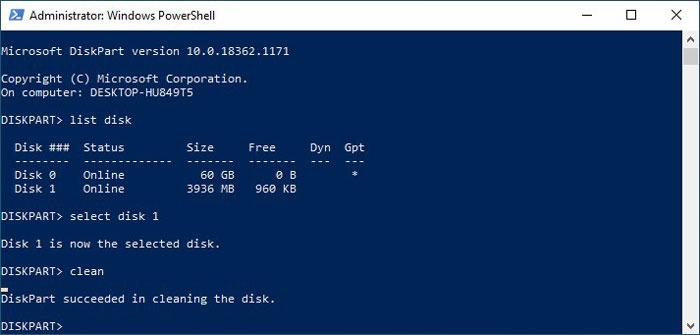 Formatieren von USB-Laufwerken in Win10 Diskpart Clean Disk