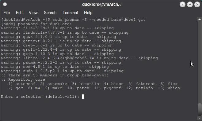 Verwenden Sie Aur In Arch Installieren Sie Git Base Dev