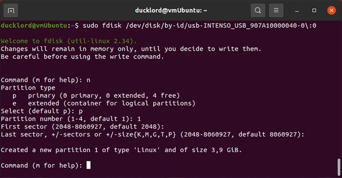 Reparieren Sie USB in Linux Fdisk Partition erstellen