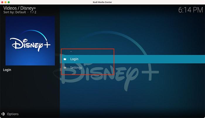 Startbildschirm von Disney Plus Kodi Addons