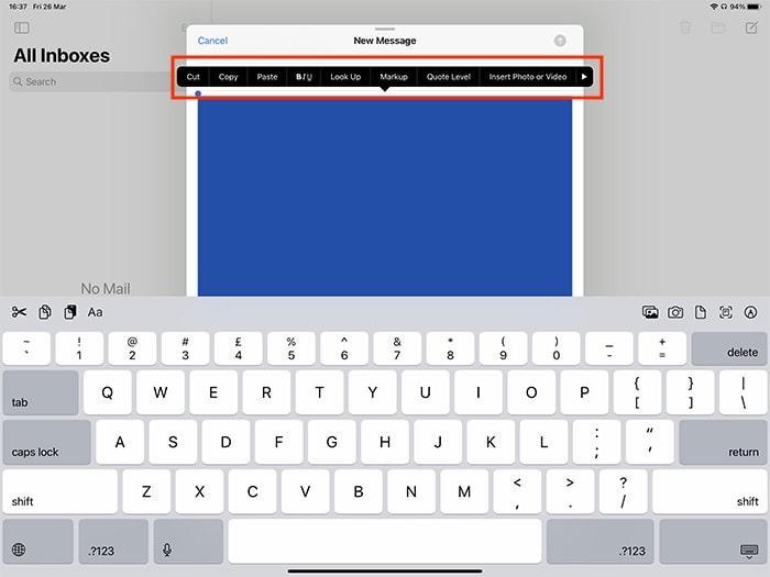 Markup Ipad Popup-Menü