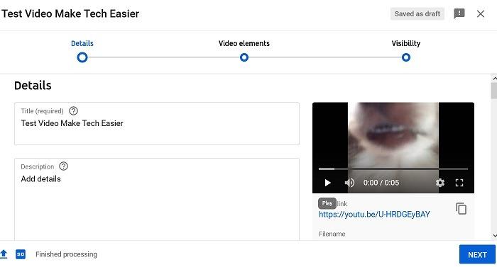 Hochladen von Youtube-Videodetails