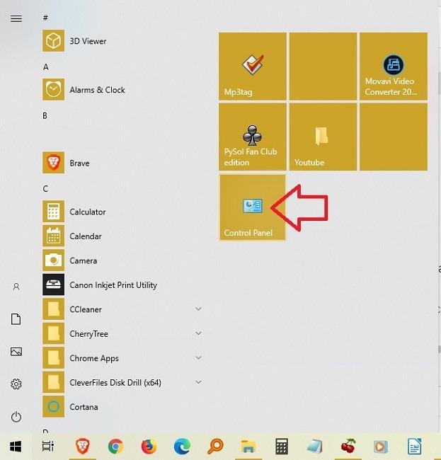 Möglichkeiten zum Öffnen der Systemsteuerung unter Windows 10 Start Pinned