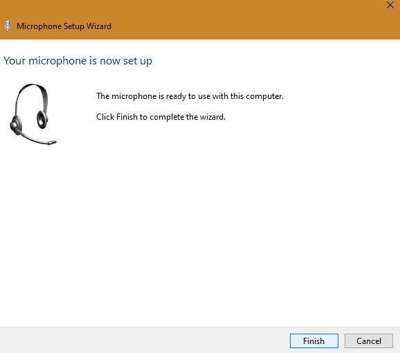 Externes Mikrofon Windows-Mikrofon-Setup abgeschlossen