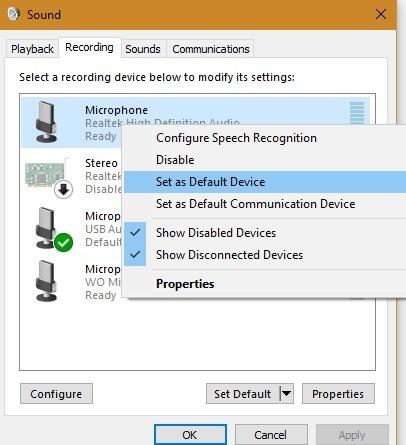 Externes Mikrofon Windows-Aufnahme als Standard eingestellt