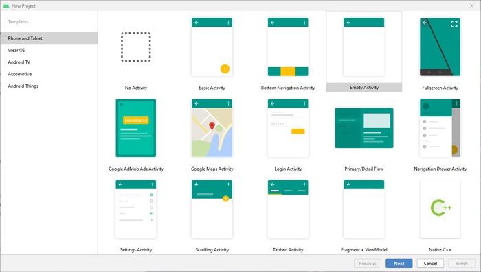 Installieren Sie Android Studio SDk Windows 10-Vorlagen