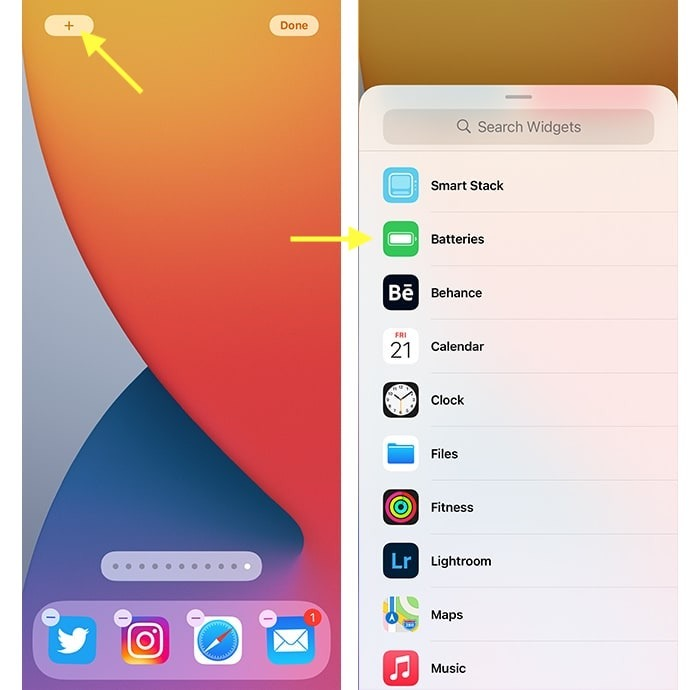 Iphone 12 Batterieprozentsatz Hinzufügen von Batterie-Widget