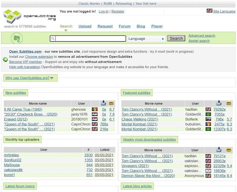 Opensubtitles Sites Zum Herunterladen von Untertiteln