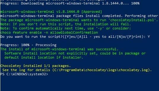 Windows Terminal Chocolatey Installation erfolgreich