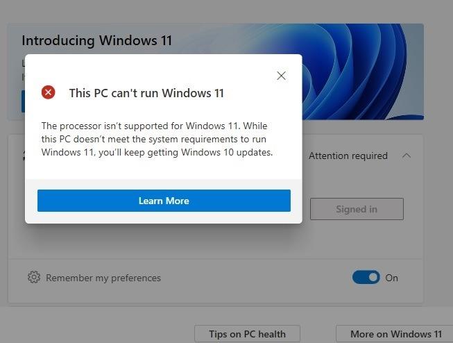 Windows11-Kompatibilität PC-Zustand kann nicht ausgeführt werdent