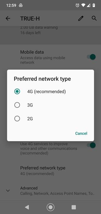 Mobile Daten funktionieren nicht Android-Netzwerktyp