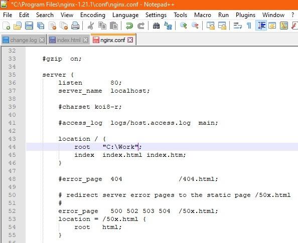 Nginx Windows-Standortstamm geändert