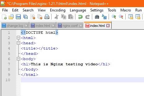 Nginx Windows-Text geändert Index.html