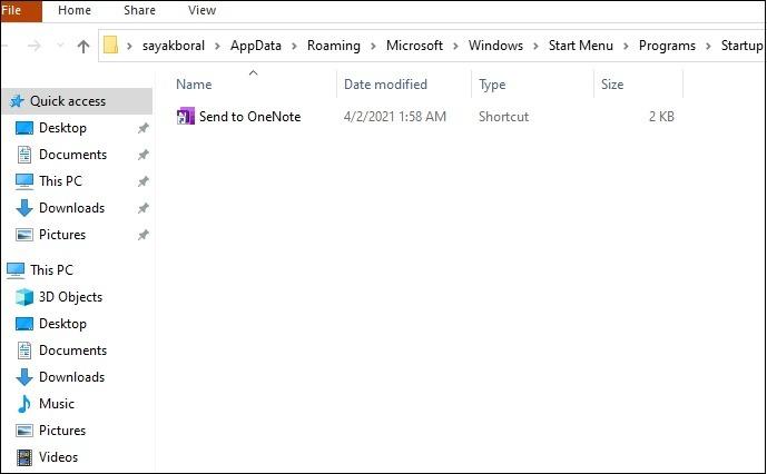 Startordner Win10 Aktueller Benutzerspeicherort Datei-Explorer