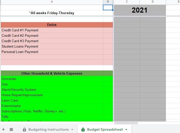Budgetierung für Google Docs-Vorlagen