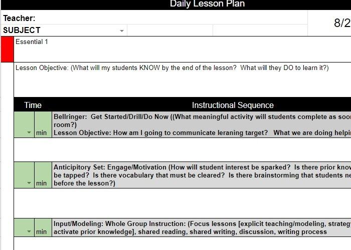 Google Docs-Vorlagen-Lektionsplan kostenlos