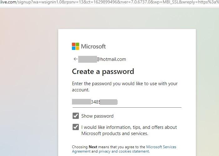 Hotmail Outlook umbenennen Passwort eingeben