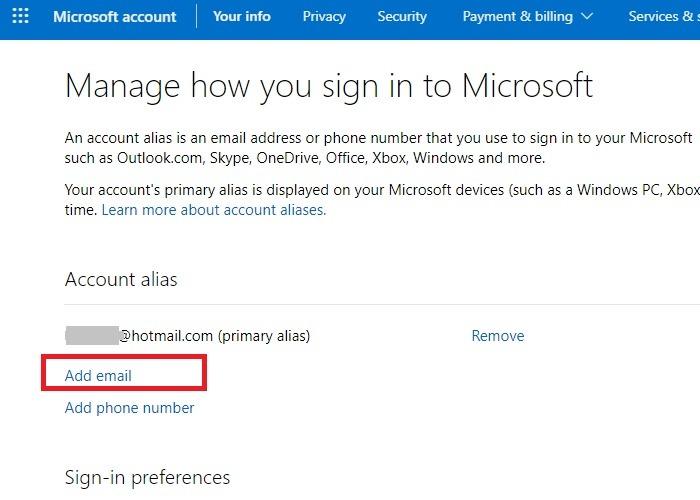 Hotmail Outlook umbenennen Verwalten Anmelden E-Mail hinzufügen