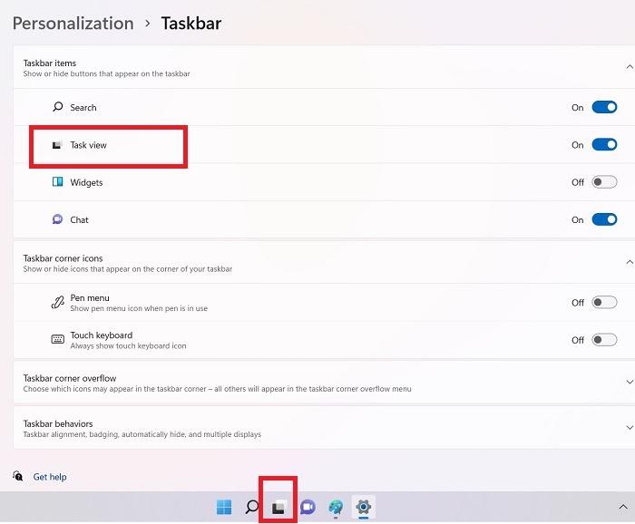 Aufgabenansicht für mehrere Desktops Windows11