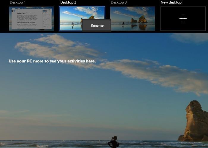 Mehrere Desktops Windows10-Desktops