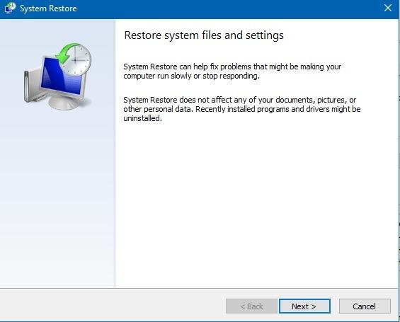 Einstellungen für die Systemwiederherstellung Dateien wiederherstellen