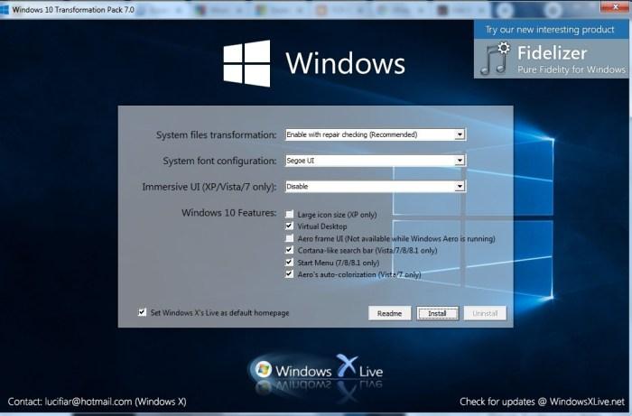 Windows10 Theme Windows7 Transformation Pack Installer