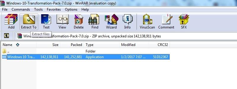 Windows10 Theme Windows7 Transformation Pack entpackt